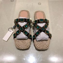 $enCountryForm.capitalKeyWord Australia - Women slippers brand designer slipper sandals straw style soft leather match belt rhinestone comfortable flats casual straw beach shoes