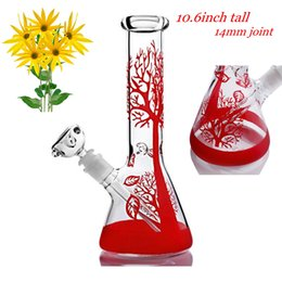 tree perc straight bong UK - 10.6 Inchs Red Tree Straight Tube Bong Thick Tall Glass Bongs Water Pipes unique bongs Bubbler Downstem Perc With 14mm joint Bowl