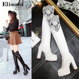 abedb631e7e5 Women Fashion High Heels Over Knee Boots Shoes Woman Round Toe Black Heels  Platform Thigh High Boots Shoes Size 34-43 Elissara
