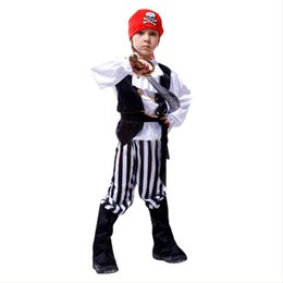 children role play costumes 2019 - Kids Pirate Costume Halloween Cosplay Costume Pirate Fancy Dress for Child Role Play Stage Party Show 110-140CM discount