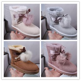 snow chains for boots NZ - 2018 brand Classic Genuine leather bailey bow snow boots 100% Wool Women Boots Warm winter shoes for woman Australia snow boots 26