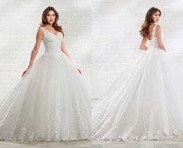 $enCountryForm.capitalKeyWord Australia - 2020 Glitter Sequin Tulle Wedding Dresses V neck Sheer Straps Ruched White New Arrival Wedding dress Bridal Gowns Vestidos De Novia