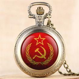 Necklaces Pendants Australia - Classic USSR Design Quartz Pocket Watch Gentle Necklace Clock Man High Quality Vintage Unisex Pendant Watch with Fob Chain reloj