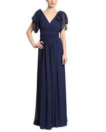 $enCountryForm.capitalKeyWord UK - Amazing 2019 A-Line Navy Blue Pleated Mother of the Bride Dresses With Sleeves V-Neck Backless Formal Gowns Wedding Guest Dresses