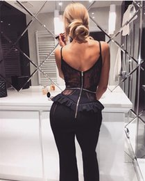 High Quality Jumpsuits Australia - High quality lace sling jumpsuit deep V-neck perspective sexy tight bodysuit bandage trousers open 2019 spring