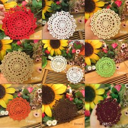 $enCountryForm.capitalKeyWord Australia - Wholesale DIY Household Handmade Crochet Cup Pad Coffee Cup Coasters Mats Lace Pattern Table Cloth Coasters Round Placemats 10CM