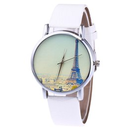 Korean couple glasses online shopping - Ladies Quartz Watch Women s Leather Strap Korean Lady Student Couple Watch Eiffel Tower New Casual Watches Clock reloj mujer A40