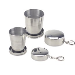 stainless steel telescopic cup Canada - 5pcs 60 140ml Folding Cup Outdoor Travel Stainless Steel Portable Retractable Metal Wine Cup Mini Glass Telescopic Folded Mug
