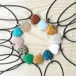 turquoise pendants wholesale Australia - Heart Reiki Natural Stones Turquoise Pink Quartz Charms Pendant Necklace for Women Men Gift Rope Chain Accessories