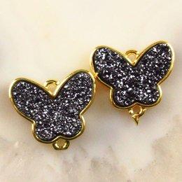 $enCountryForm.capitalKeyWord Australia - 2Pcs Black Titanium Crystal Agate Druzy Quartz Geode Butterfly Pendant Bead