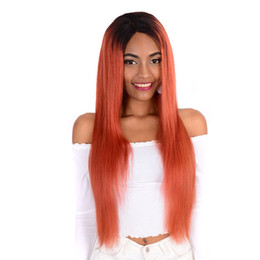 $enCountryForm.capitalKeyWord Australia - Orange Ombre Lace Front Human Hair Wigs Two Tone Straight Virgin Brazilian Human Hair Full Lace Wig Ombre Black Purple