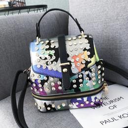 $enCountryForm.capitalKeyWord Australia - Lykanefu Punk Style Mini Women Backpack Camouflage Pattern Backpacks For Teenage Girls Pu Leather Over Shoulder Bags Diamonds Y19061204
