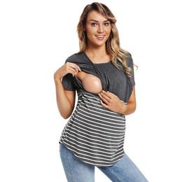 90c405537 Nueva llegada tallas grandes camisetas de maternidad de verano 2018  camisetas de amamantamiento a rayas para las mujeres de enfermería Tops  ropa de ...