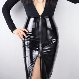 90a95b5d0 LATEX PENCIL SKIRT Shine Patent Leather Black High Rise Split Zipper Vinyl  PVC