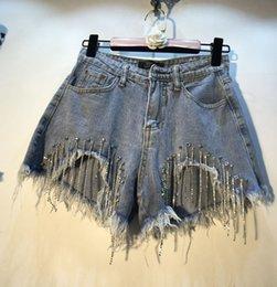 Women's Clothing Summer Hot Pants Wonen 2019 European Style New Heavy Diamond Bead Insert Drill High Waist Slim Holes Jeans Shorts Girl Lady Pant Durable In Use