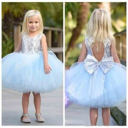 White baby tutu party dress online shopping - 2019 Short Tulle Ball Gown Flower Girl Dresses Silver Sequins Top Sleeveless Knee Length Children Princess Tutu Baby Pageant Party Gowns