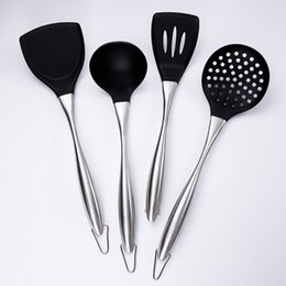 cooking spoon shovel Canada - 4PCS Silicone Kitchenware Cooking Tools Utensil Sets Soup Spoon Ladle Spatula Colander Frying Shovel Turner For Nonstick Pot Pan T200415