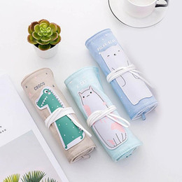 Gift wrap holder online shopping - Canvas Wrap Roll Up Pencil Case Pencil Bag Makeup Brushes girls Supplies Holder School or For buys gifts Pouch T9Z6