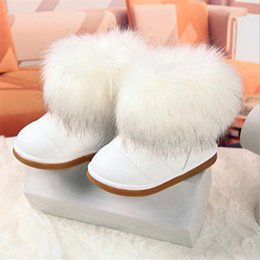 Shoes For Girls Winter Australia - Winter Fashion child girls snow boots shoes warm plush soft bottom girls boots leather winter snow boot for 3-14 years old