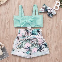 $enCountryForm.capitalKeyWord Australia - Kids Girl Three-pieces Suits Coconut Tree Printed Belt Edge Curl Elastic Waist Shorts Headband Baby Bow Sling Top Sets Baby Girl Clothes