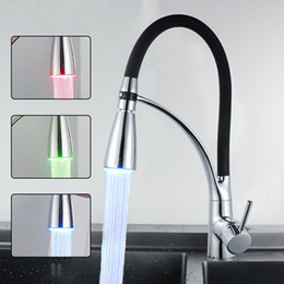 Pull Out Kitchen Australia - Kitchen Sink Faucet Temperature Control LED 3 Colors With Pull Out Sprayer Single Handle Single Hole Deck Mounted Faucet Black