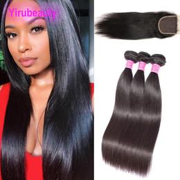 Straight virgin peruvian cloSure 4x4 online shopping - Peruvian Virgin Hair Three Bundles With X4 Lace Closure Straight Natural Color Human Hair Wefts With X4 Lace Closure Pieces