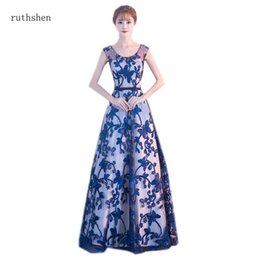 Long Prom Dresses 2019 Royal Blue Embroidery Lace Illusion A-line Full  Length Evening Party Frocks Special Occasion Formal Dress 22789dd10