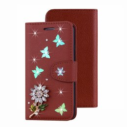 $enCountryForm.capitalKeyWord Australia - Leather Wallet Case For A50 A30 M30 M20 M10 Note 9 8 S9 S8 J6 J4 Butterfly Bling Diamond Flower ID Card Slot Flip Cover Fashion Strap