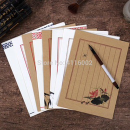 Stationery Australia - 200Sets(8pcs set) Chinese Style Writing Paper Stationery Pattern Vintage Letterhead Letter Paper For Love Letter