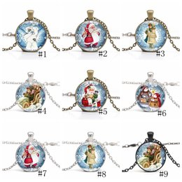 CaboChon Chain online shopping - Christmas Necklace Time Gem Cabochon Necklace Santa Claus Snowman Crystal Necklaces Long Chain Christmas Pendant Jewelry new GGA2670
