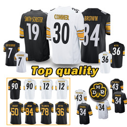 484698f66 Pittsburgh Steeler Jersey 84 Antonio Brown 50 Ryan Shazier 26 Le Veon Bell  19 Juju Smith-Schuster 30 James Conner 36 Jerome Bettis Jerseys