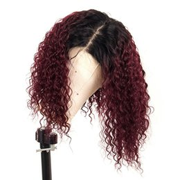 black red lace front wig UK - Ombre 99J Red Curly Lace Front Human Hair Wig With Baby Hair Preplucked Brazilian 13X6 Lace Front Wig For Black Women