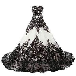 $enCountryForm.capitalKeyWord Australia - Custom Made Wedding,Vintage Gothic White Tulle Black Lace Wedding Dress Elegant Chic A-line Tutu Bridal Ball Gowns Plus Size