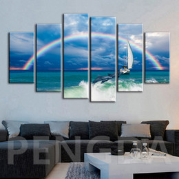 dolphins decorations 2019 - Modular Hd Prints Home Decoration Rainbow Dolphins Pictures Painting Canvas Sea Landscape Poster Frame Wall Art For Livi