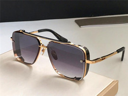 sunglasses limited edition Australia - New luxury popular TOP sunglasses limited edition SIX men design K gold retro square frame crystal cutting lens with grid detachable