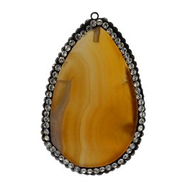 yellow agate wholesale NZ - Fashionable natural agate piece pendant bag edge is set auger yellow agate piece jewelry is distinctive surprise gem