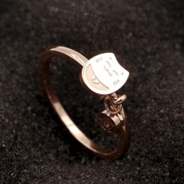 indian gold coins Australia - Fashion Totoro Coin Rose Gold Ring Tail Ring Lucky Cat Copper Money Titanium Steel Plated Gold Ring