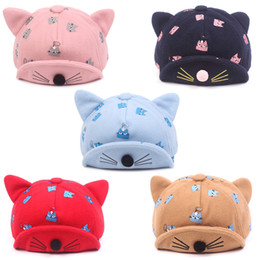 $enCountryForm.capitalKeyWord NZ - Spring and Autumn baby warm baseball cap embroidered cat child sunhat soft along the cuffed baby cap for 2-4 years old kids