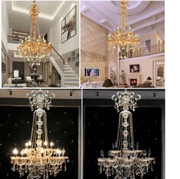 $enCountryForm.capitalKeyWord Australia - Free shipping EXtra long large stair K9 crystal chandelier lustres de cristal candle export K9 Lobby Light Height 150cm