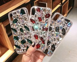 Wholesaler For Back Iphone Color Australia - Shinning Full Diamond Back Cover Shell Discolor Rhinestone Phone Case Gradient Color Shimmering for iPhone 10 6 8 Samsung Note8 S9 S8
