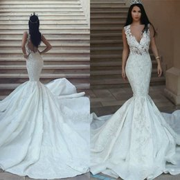 V Back Satin Wedding Dress Australia - V Neck Vintage Mermaid Wedding Dresses Sleeveless Lace Appliqued Satin Sweep Train Bridal Gowns Beaded Sheer Buttons Back robes de mariée