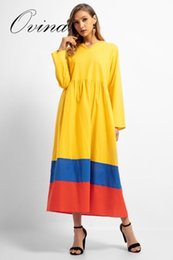 5cfece3adb8 Muslim Robes Women s Middle Eastern Clothes Splice Solid Islamic Large Size  Cotton Women Dress