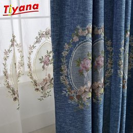 drop shades Canada - Blue Green Purple Blackout Curtains Tulle Curtains for Living Room Bedroom Window Shade Drop Textiles Free Shipping WP295 *20