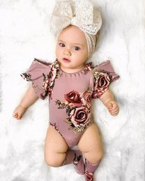 $enCountryForm.capitalKeyWord Australia - baby girl clothes Cute Infant Baby Girl Floral Short Sleeve Off Shoulder Bodysuits Stocking Holiday Outfit Clothes
