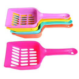 plastic shovels Australia - Solid Color Pet Cat Litter Shovel Plastic Color Random Kitten Waste Dog Puppy Sand Scooper