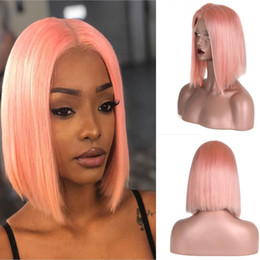 peruvian straight short wig Canada - Pink Color Lace Front Bob Human Hair Wigs for Women with Baby Hair Preplucked Hairline Straight Peruvian Human Hair Short Bob Wigs