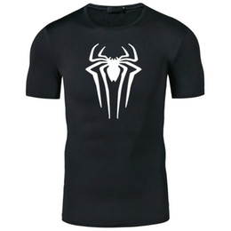 t shirts stamps Australia - Superhero Movie Spiderman Stamped T-shirts Men Short Sleeve Summer Tee Men Superman Quick-drying Fitness Top