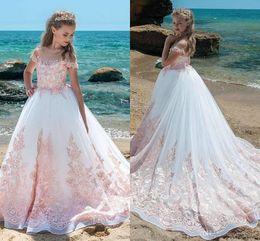 $enCountryForm.capitalKeyWord Australia - Beautiful Sheer Appliqued Flower Girl Dresses Sheer Jewel Neck Princess Girls Formal Pageant Gowns With Big Bow Sash