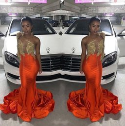 gold charm sexy girl Australia - 2020 Charming Orange Mermaid Sexy Prom Dresses One Shoulder Appliques Formal Black Girls Party Dress Evening Gowns