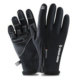 Windproof Touch Screen Gloves Australia - Outdoor Waterproof Cycling Ski Gloves Winter Touch Screen Men And Women Windproof Warm Riding Full Finger Zipper Gloves